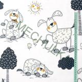 Pejsek s boudami a ploty - bílá látka - dětská metráž - bavlna empty 1ae9bb76019