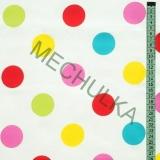 Velké barevné puntíky   kolečka dětská - bílá látka - puntikatá metráž -  bavlna empty e958af1a654